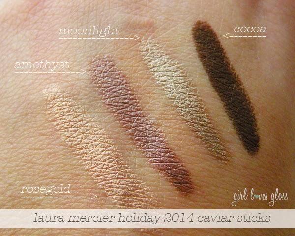 laura mercier caviar stick swatches holiday 2014 set rosegold amethyst moonlight cocoa