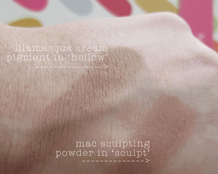 illamasqua cream pigment hollow contour swatch mac sculpting powder contour swatch girllovesgloss.com