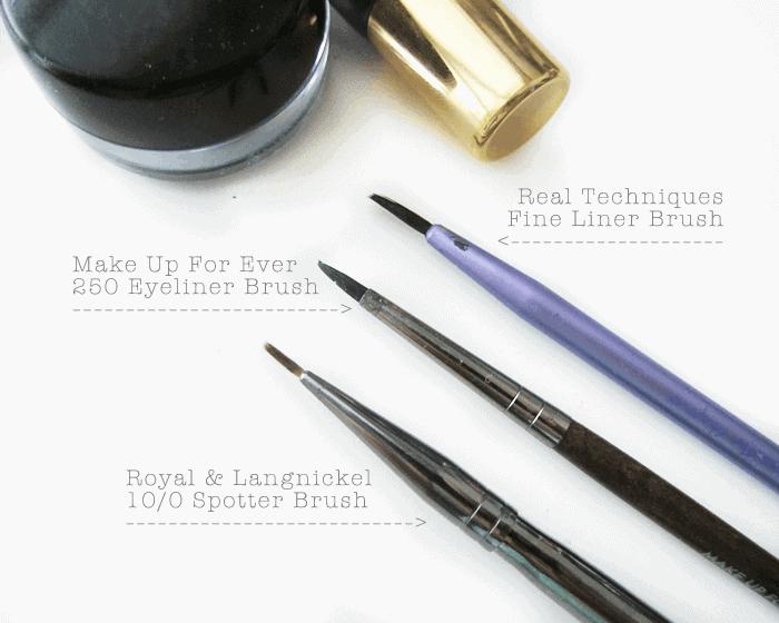 Royal and Langnickel eyeliner brush, Make Up For Ever 250 Brush, Real Techniques Fine  liner brush, winged eyeliner, cat eyeliner