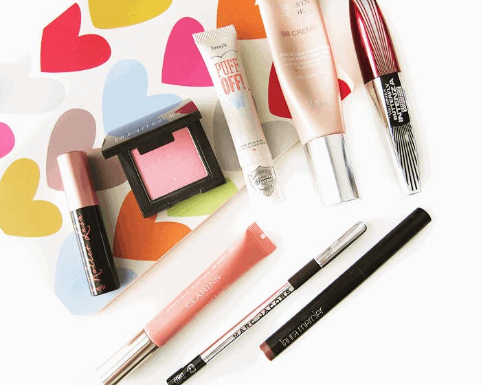 March 2015 makeup and beauty favourites, benefit roller lash, benefit puff off, diorskin nude bb creme, laura mercier rose petal blush, clarins instant light lip perfector,