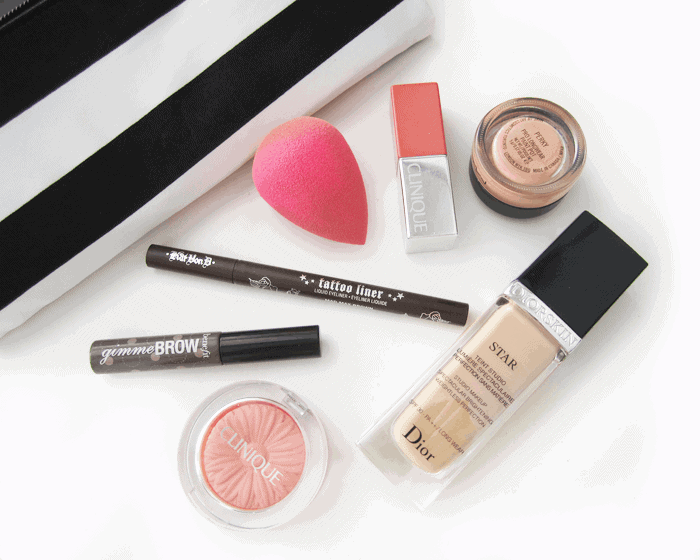 april 2015 makeup and beauty favourites. kat von d mad max brown, dior star foundation, benefit gimme brow, mac paint pot, beauty blender, clinique melon pop,