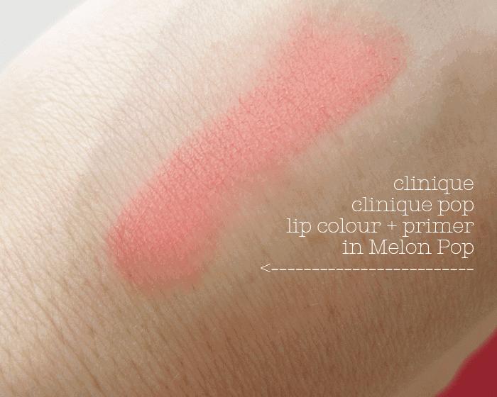 Clinique Pop Lip Colour Primer in Melon Pop Review Swatch