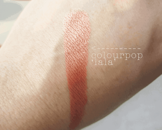 Colourpop.com cosmetics la la rose gold eyeshadow swatch