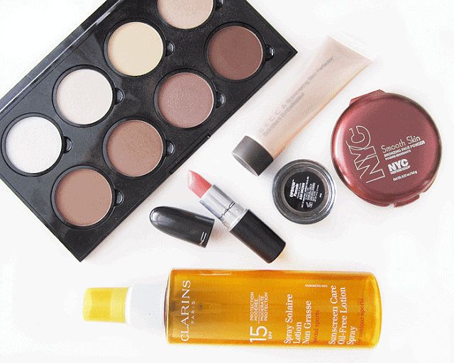 june beauty favourites 2015, nyx highlight and contour palette, becca shimmering skin perfector, nyc sunny, clarins sunscreen, mac razzledazzler, anastasia dip brow