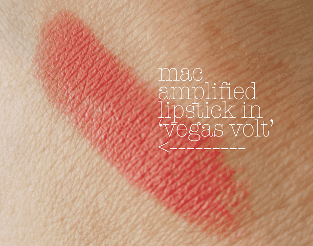 mac vegas volt lipstick swatch and review