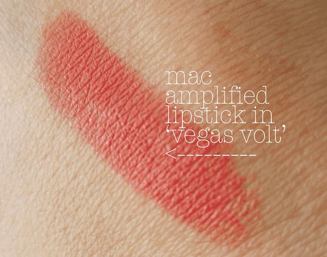 mac vegas volt lipstick swatch and review