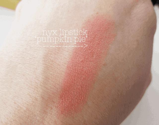 NYX Pumpkin Pie Lipstick swatch reveiw