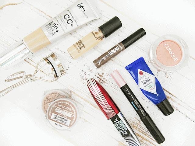 Back to School Beauty - IT Cosmetics CC Cream, Jack Black Lip Balm, Loreal Infallible, Shu Uemura lash curler, sephora