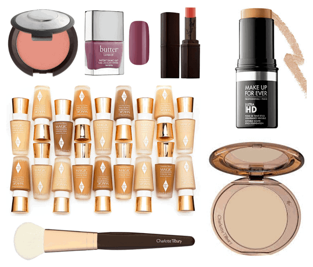 Current Wish List: Charlotte Tilbury Magic Foundation and brush, Make Up For ever Ultra HD Stick, Becca Flowerchild, Butter London, Laura Mercier