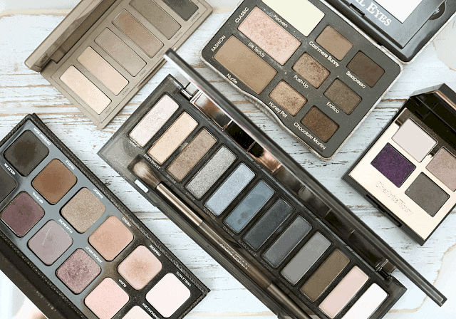 Shopping for and eyeshadow palette. Five palettes for fall and winter. Urban Decay, Charlotte Tilbury, Laura Mercier, Too Faced