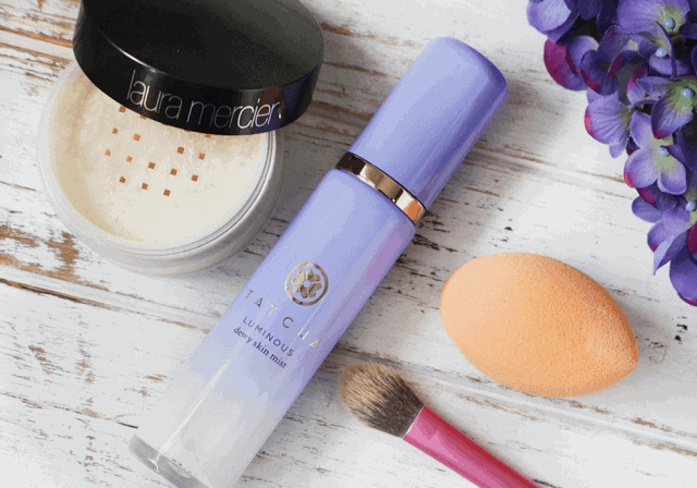 How to avoid cake face and over applying makeup. Tatcha Luminous Dewy Skin Mist, Real Techniques, Laura Mercier