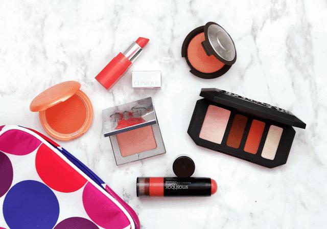 Orange Makeup : Becca Luminous Blush, Urban Decay Afterglow Highlighter, Smashbox, Stila, Clinique, Kat Von D Rust Quad