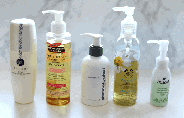 5 Cleansing Oils I love and how to use them: tatcha, palmers, boscia, demalogica, the body shop