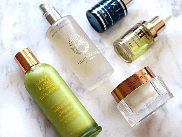 My morning skincare routine products: Tata Harper, Omorovicza, Oskia, Emma Hardie, Charlotte Tilbury