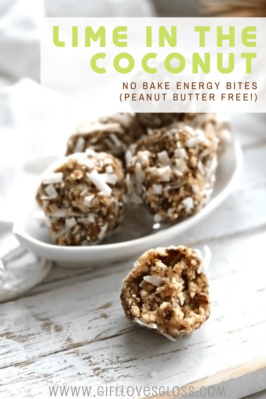 Lime Coconut No Bake Energy Bite Recipe no peanut butter