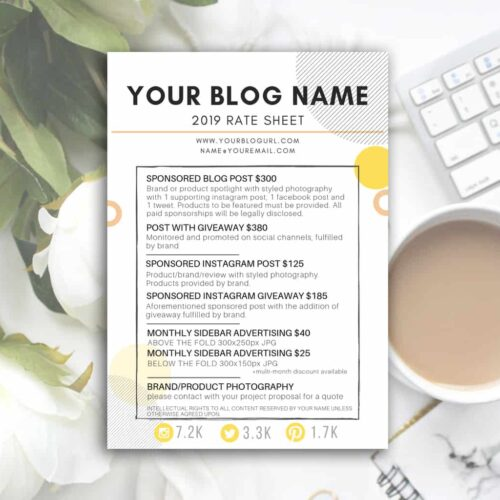 SUNNY rate sheet template