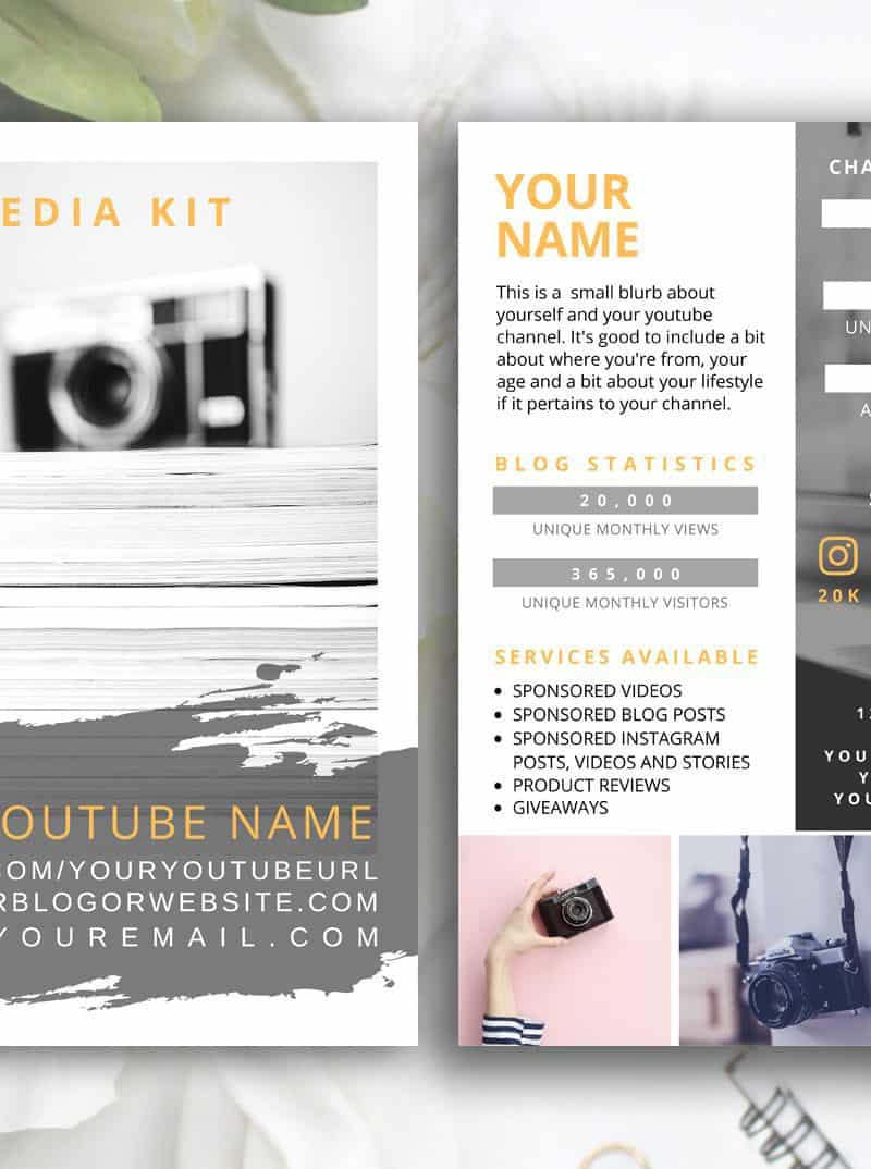 HONEY Youtube Influencer Media Kit Template