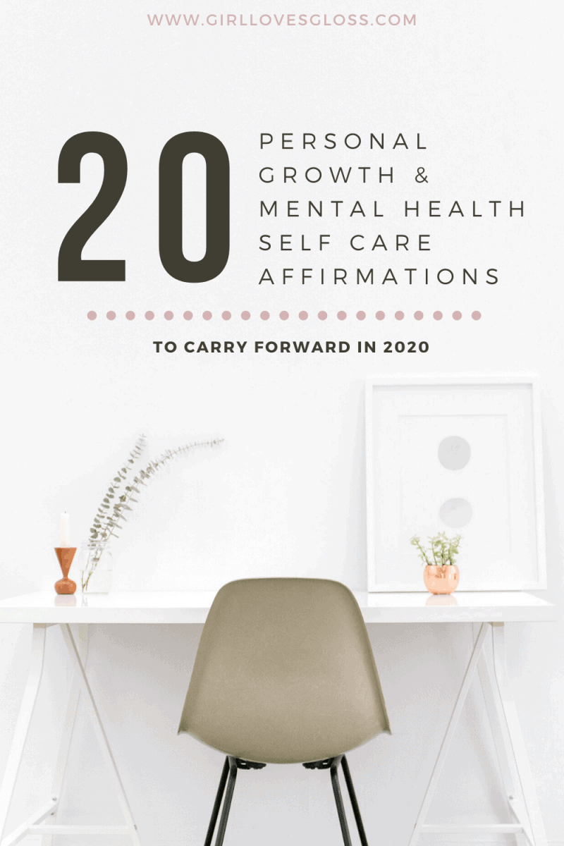20 life affirmations for personal growth, self care and mental health
