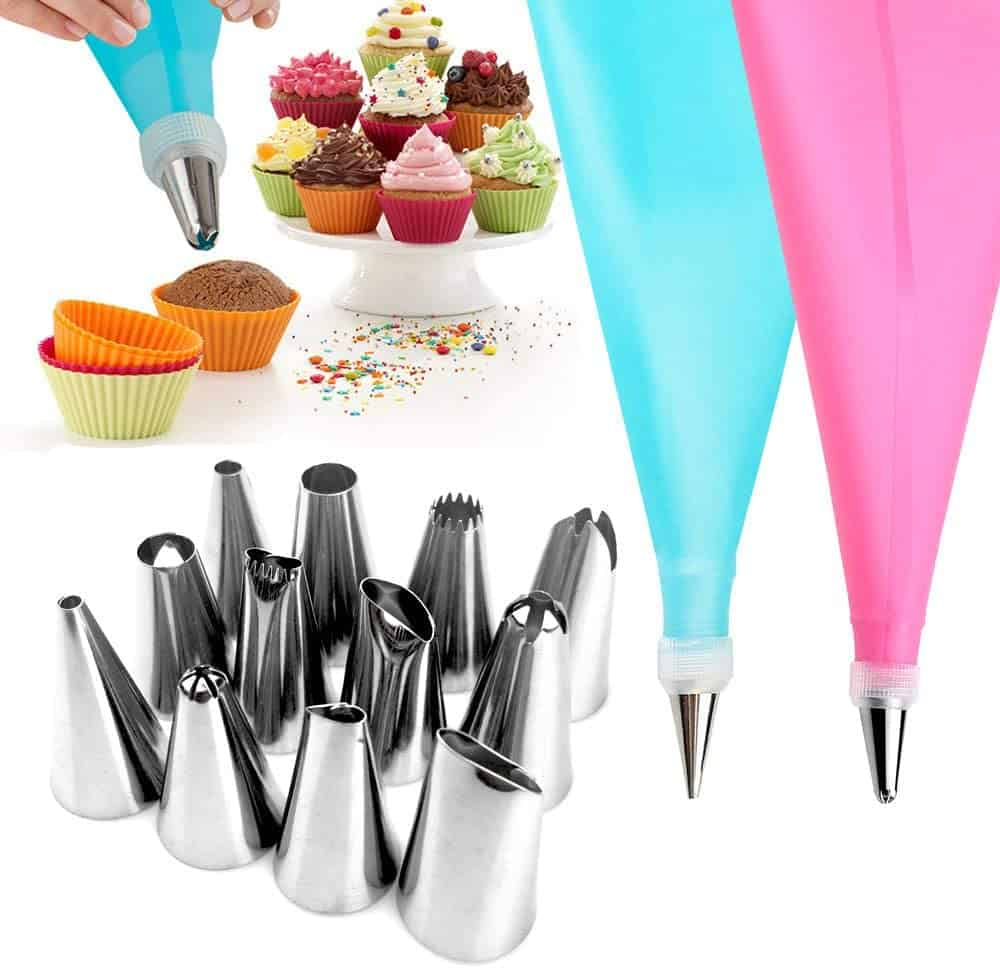 WJASI Silicone Piping Bags and Nozzle,Silicone Icing Piping Cream Pastry Bag and 12 Pcs Piping No...