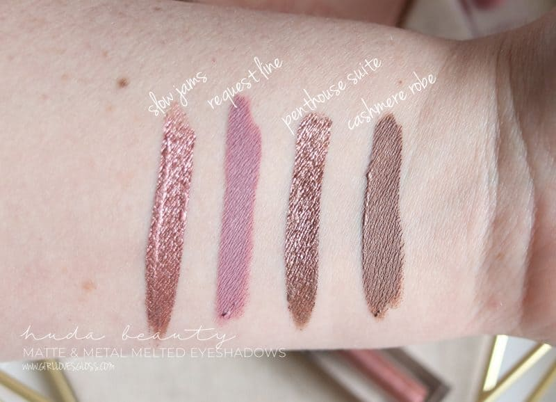 Huda Beauty Matte & Metal Melted Shadow swatches and review