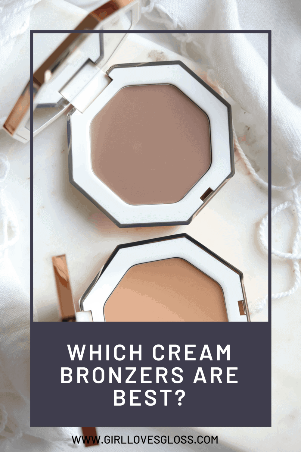 Fenty Beauty Cheeks Out Freestyle Cream Bronzer review and swatches of the in the shades Amber (contour) and Butta Biscuit